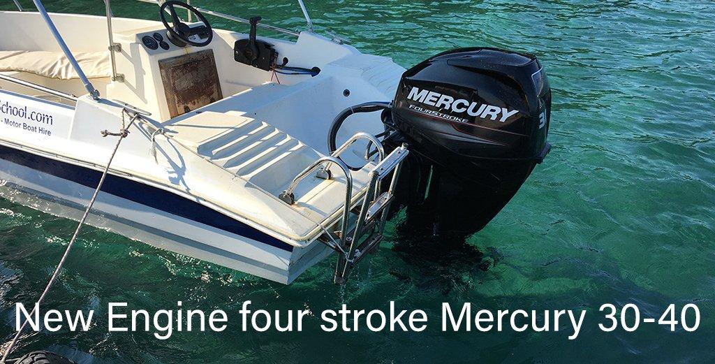 New engine on Stavros Boat 2 Stefanos Ski School & Boat rental