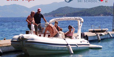 Boat Tris, with a RIB in SKiathos